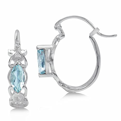 1d751da4e Image Unavailable. Image not available for. Color: 1.24ct. Genuine Sky Blue  Topaz 925 Sterling Silver Filigree Hoop Earrings