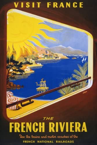 VINTAGE FRANCE FRENCH RIVIERA RAILWAY A3 POSTER PRINT