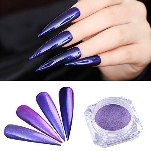 (BORN PRETTY Nail Art Purple Glitter Pearl Mirror Manicure Chrome Pigment Powder)
