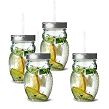 Circleware 69049 Owl Mason Jars Drinking Glasses with Metal Lids and Hard Plastic Straws Set of 4, Glassware for Water Beer and Kitchen & Home Decor Bar Dining Beverage Gifts, 15 oz, Clear