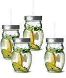 Circleware 69049 Owl Mason Jars Drinking Glasses with Metal Lids and Hard Plastic Straws Set of 4, Glassware for Water Beer and Kitchen & Home Decor Bar Dining Beverage Gifts, 15 oz, Clear Review
