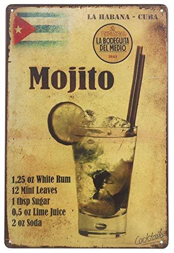 QFDH La Habana Cuba Mojito Drink Tin Sign Wall Retro Metal Bar Pub Poster Metal 12 X 8