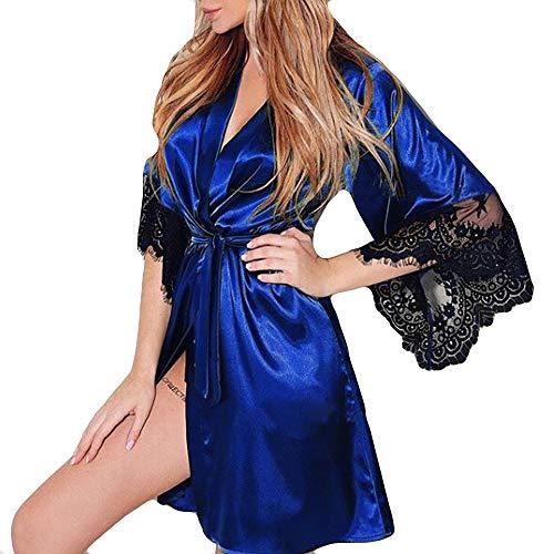 Gocheape Women Sexy Nightwear Silk Kimono Dressing Babydoll Lace Lingerie Belt Bath Robe (XL, ()