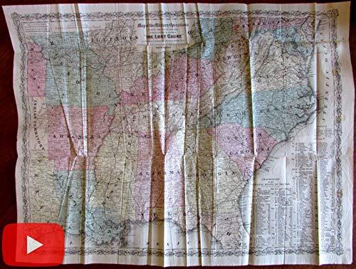(U.S. Civil War Battle Fields Map 1867 Colton large folding pocket map dates)