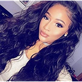 Echo Beauty Natural Black Natural Wave Brazilian Virgin Human Hair Wig Glueless Full Lace Wigs With Baby Hair Lace Human Hair Wigs 24″