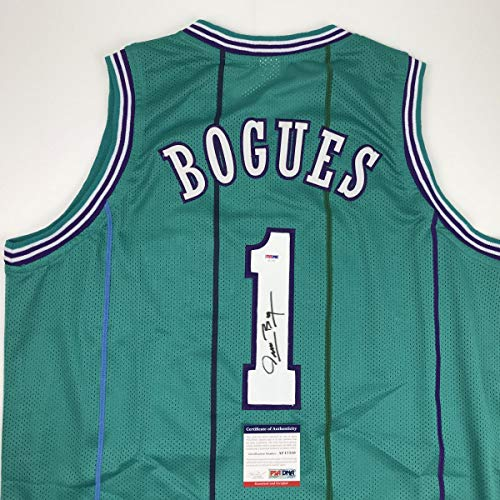 - Autographed/Signed Muggsy Bogues Charlotte Teal Basketball Jersey PSA/DNA COA