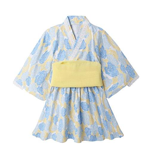 - PAUBOLI Kimono Yukata Organic Cotton Japan Robe Dress with Belt for Girls 1-7 years (1-2 Years, Blue)