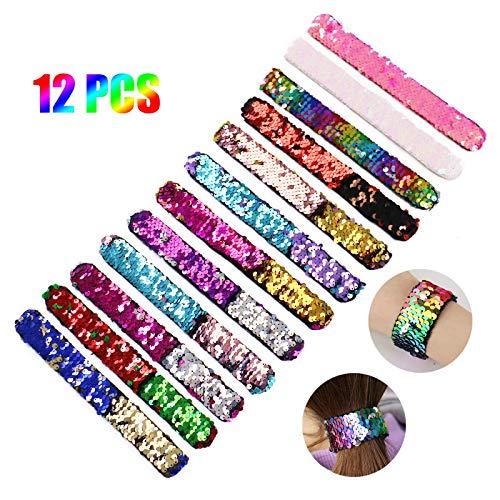 (AQUEENLY Sequin Slap Bracelets 12 PCS Mermaid Bracelets Two-Color Decorative Reversible Slap Band for)