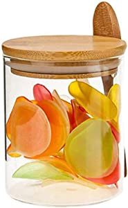 Povinmos 15 oz Glass Food Jar Storage Canister with Wooden Spoon,Sugar Dispenser Clear Sealed Container for Loose Tea Salt Sugar Coffee Bean Preservation