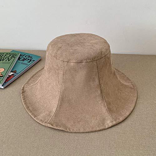 58 Dark Khaki Color - UNBRACE Sun HatsSolid Color Big Edge Couple FoldingKhaki_54cm-58cm Bucket capsFishing Beach
