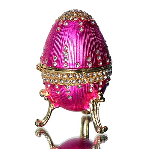 Waltz&F Rose red Eggs Trinket Box Hinged Hand-Painted Figurine Collectible Ring Holder with Gift ()