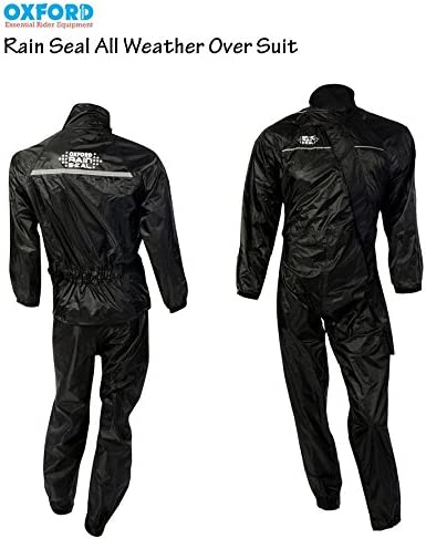 XXXL Motorcycle Oversuit Oxford Rain Seal Motorbike Scooter Touring All Weather Protection Waterproof Over Suit Full Black Black