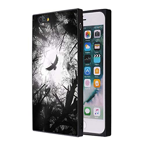 Odiasnquq Customized Fashion Anti-Scratch Soft Durable Square TPU Black Silicone Protective Raven Phone Case for iPhone 7 8