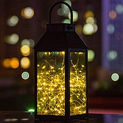 Solar Lantern Lights, Tomshine Outdoor Hanging Lamp, Copper Wire Fairy String Lights, IP44 Waterproof, Built-in 600 mAh Capacity Rechargeable Battery, For Patio Garden Courtyard Pathway, Warm White