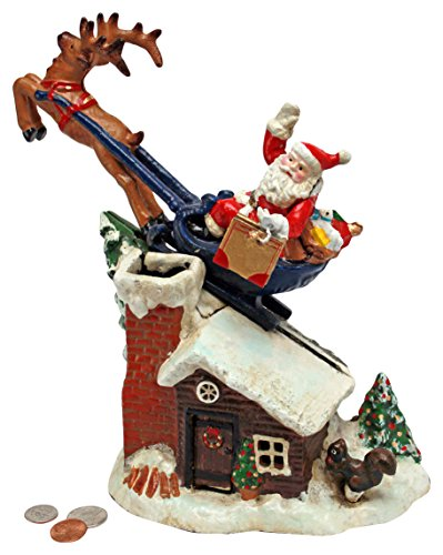 Christmas Decorations - Santa's Christmas Sleigh Ride Collector Die Cast Iron Mechanical Coin Bank - Savings Bank - Piggy Bank