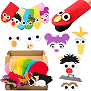 GROBRO7 6Pcs Sesame Hand Puppet DIY Thick Felt Craft Kit Creative Make Your Own Puppets Interesting Role Play