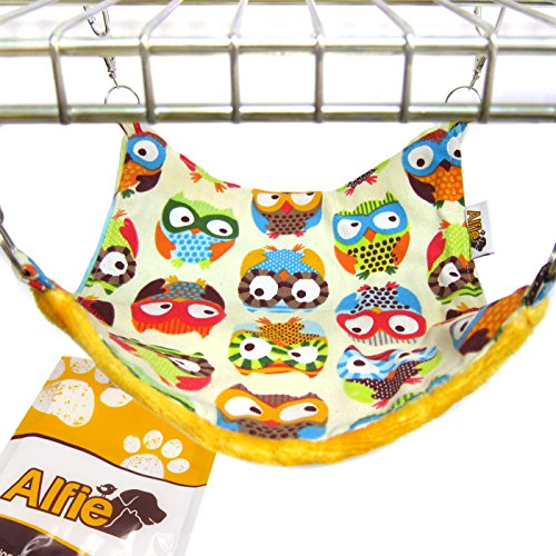 (Alfie Pet - Paisley Reversiable All-Season Hammock for Small Animals Like Guinea Pig and Rabbit - Pattern: Owl, Size: S)