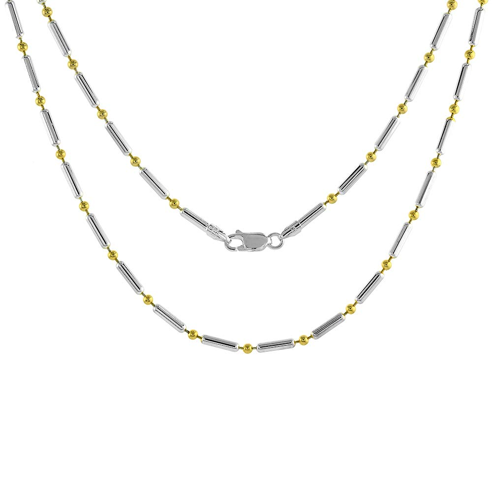Sterling Silver Pallini Bead Dot Dash Ball Chain Necklaces /& Bracelets 2.6mm Two tone Gold Plated Italy sizes 7-36 inch