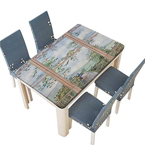 PINAFORE Polyester Tablecloth Watercolor Landscape with pergola Wooden Window with View of sammer Landscape Spillproof Tablecloth W33.5 x L73 INCH (Elastic - Log Pergola