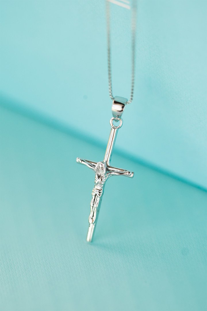 (Silver) s925 Silver Personalized Christian Cross Jesus Necklace Pendant Chain Clavicle