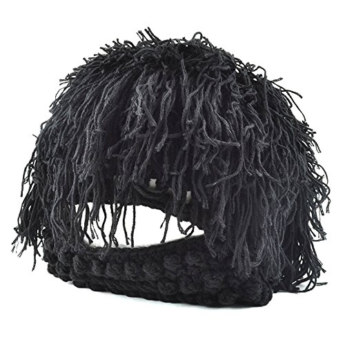 [Zupo Kids Wig Beard Hat Winter Mustache Mask Hip-Hop Caveman Style Hand Knit Wool Cap for Warm Keeping/Costume Party] (Cave Baby Girl Costumes)