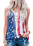 Papijam Womens Casual Sleeveless American Flag Printed Tank Top