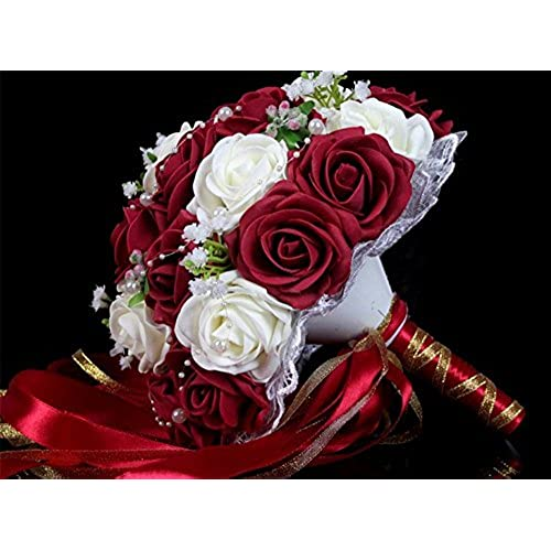 Charm Lace Pearls Babys Breath Rose Married Bride Holding Flowers Wedding Bouquet With Chain Ribbon Hand Tie Red Wine White