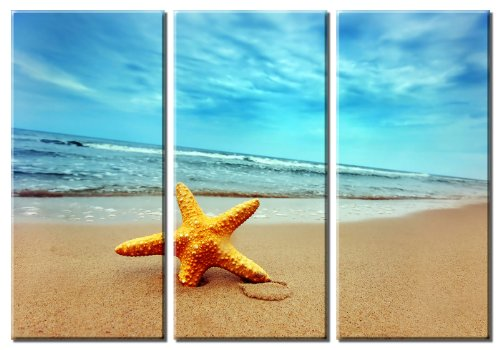 amazoncom picture sensations framed huge 3 panel summer starfish beach giclee canvas art prints posters prints