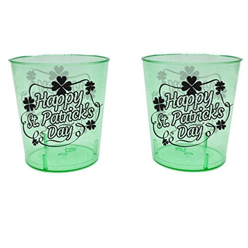Shot Glasses For St. Patrick's Day - 1 Ounce - Durable Plastic - Green Color - 24 Count - Get Drunk With Tiny Shots Of Guinness, Whisky & Other Irish Alcoholic Drinks At A Party