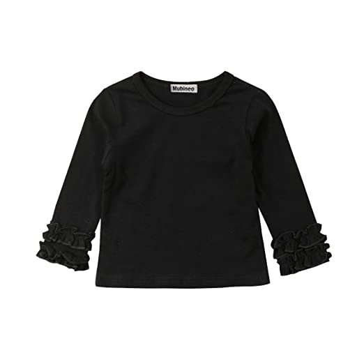 4c1cfd0e Toddler Baby Girl Basic Plain Ruffle Cuff Long Sleeve Cotton T Shirts Tee  Tops (Black