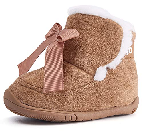 Baby Girl Boots Snow Winter Infant Boy Shoes Bowknot Warm Soft Sole Anti-Slip Prewalker 6-24 Months Camel