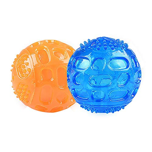 CVNT – 2 Pack – 3.2 Inch Dog Squeaky Ball Dog Ball for Teeth Cleaning and Health Training Squeaker Dog Toy Durable Dog…
