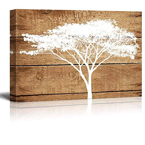 12' Acacia Wood - Decor Love Canvas Prints Wall Art Oil Painting, Artistic Abstract Acacia Tree on Vintage Wood Background Stretched and Framed for Living Room 12'' by 16''