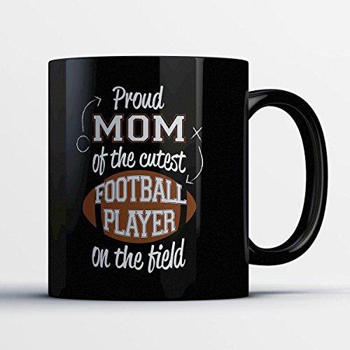 Football Coffee Mug - Cutest Football Player - Funny 11 oz Black Ceramic Tea Cup - Cute Football Player Gifts with Football (Boise State Football Halloween Helmet)