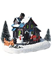 Yuehuam Tabletop Christmas Decoration Village House with Light Christmas Train Snow House Resin Crafts Figurines Landscape Snow House Ornaments Xmas Table Decorations