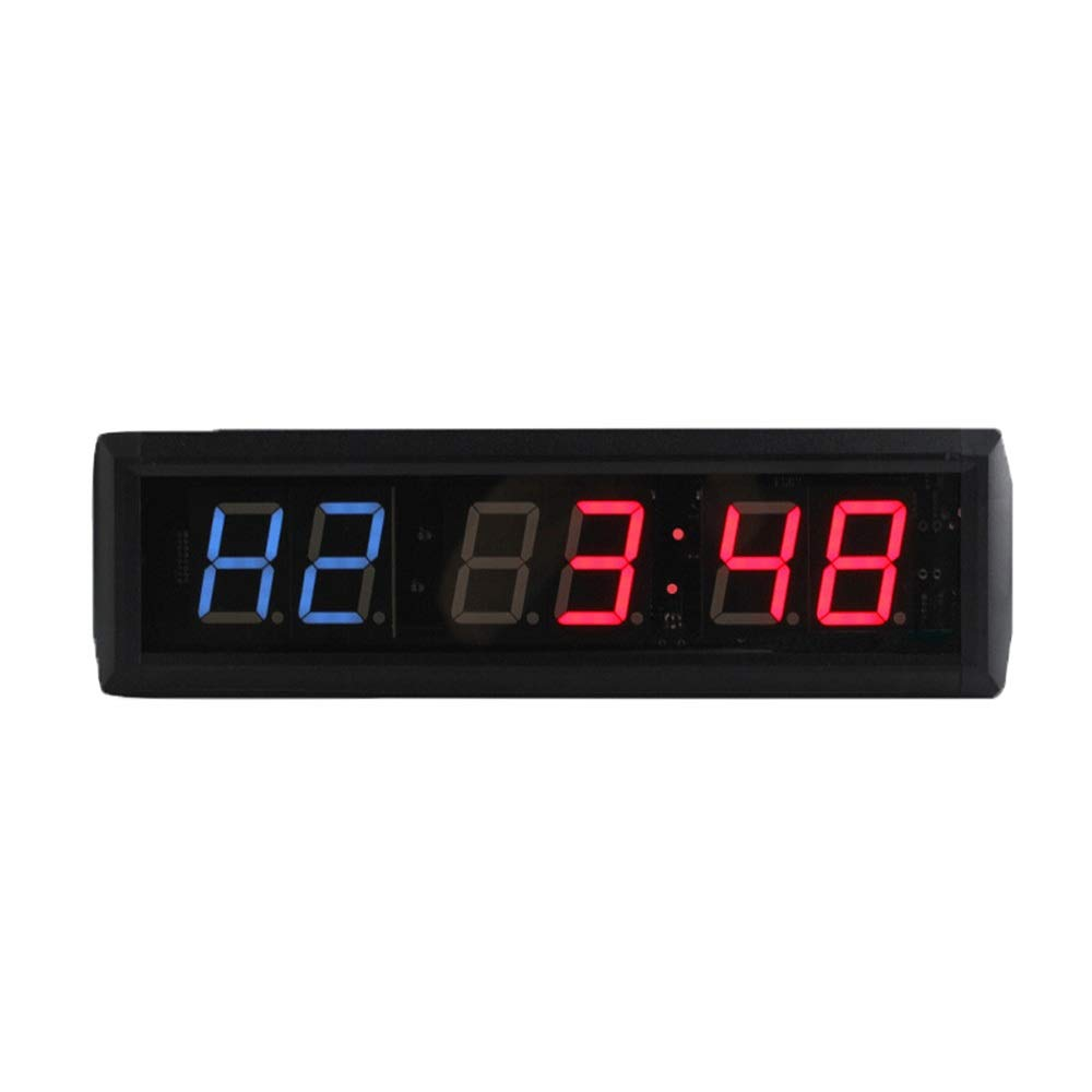 Large Digital Clock Down Up Clock Stopwatch Wall Clock with Remote for Home Gym Fitness LED Digits Interval Timer Count for Office School (Color : Black, Size : 34X10X4CM) by JIANGXIUQIN-Home