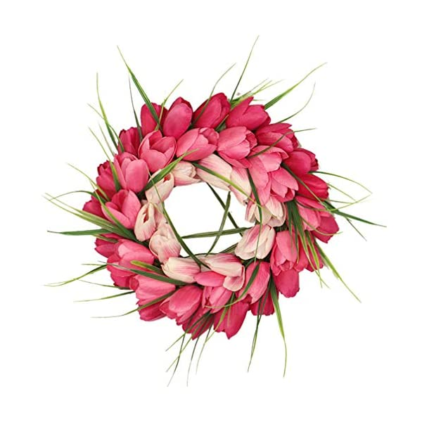 Garneck 1pc Chirstmas Door Wreath, Artificial Tulip Gradient Garland, Hanging Flower Wraeth for Porch Hallway Home Decoration (Light Pink)