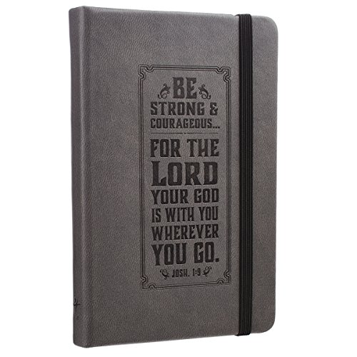 (Be Strong Hardcover LuxLeather Notebook with Elastic Closure in Gray - Joshua)