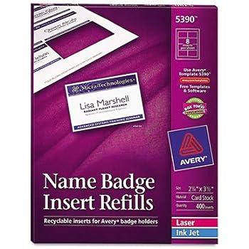 Amazon.com : Avery Name Badge Inserts, Print or Write, 2-1/4\