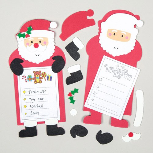 Santa Christmas Wish List Kits for Children to Make Create and Decorate for Xmas (Pack of 5)