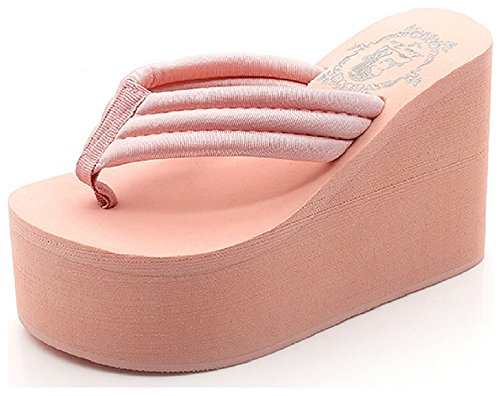 Pink Wedge Flip Flop (Hanxue Womens Chunky High Platform Wedge Flip-flops Sandals Pink)