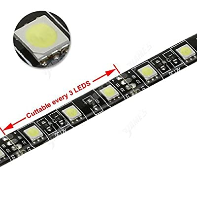 New LED4Everything (TM) Black PCB 5M 16.4ft 12v SMD Yellow 5050 IP65 Waterproof 300 LED Flexible Tape Strip Christmas Decoration Light
