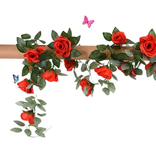 Qingsun 4.2-Ft Artificial Flower Fake Rose Vine Flowers Plants Home Hotel Office Wedding Party Garden Craft Art (Garland Wedding Arch Decor)