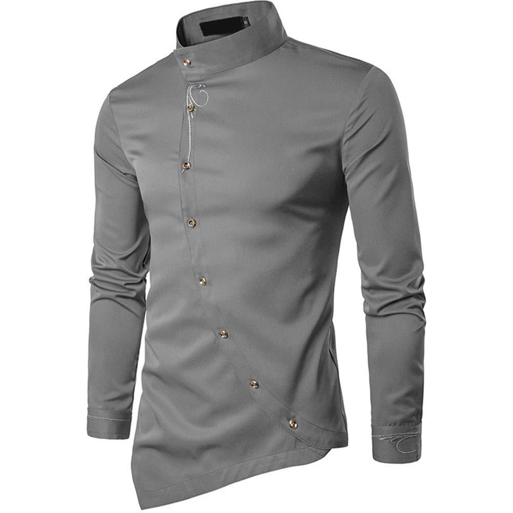 Alician Men Simple Casual Muslim Style Oblique Button Irregular Hem Shirt