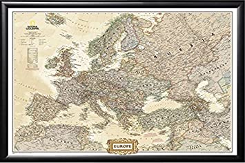 Amazon framed europe map with cities and countries framed map framed europe map with cities and countries framed map by national geographic current map of europe gumiabroncs Image collections