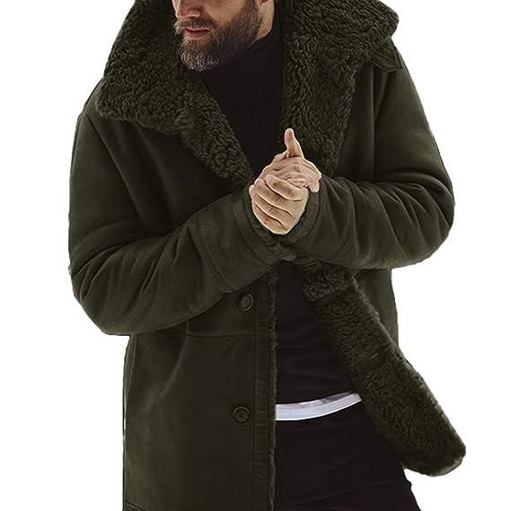 b459b210088 Men s Thicken Warm Coat Basic Casual Windproof Single Row Button Lapel  Large Size Jackets Fleece Medium Length Windbreaker Open Front Cardigan  ...