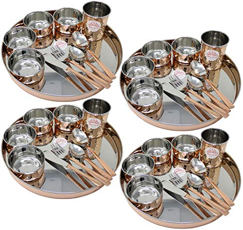 (SKAVIJ 40-Piece Stainless Steel Copper Dinnerware Set Brown Gold Large Dinner Plates Thali with Cups Bowls Spoons Dinner Forks and Knives Dinnerware Set Service for 4)