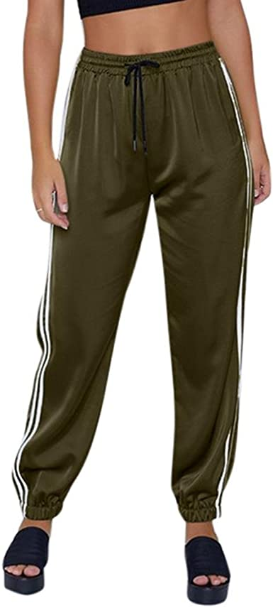 ASHOP Womens Drawstring Cropped Trousers Sweatpants Cotton Joggers Tracksuit Bottoms with Pockets