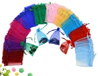Wuligirl 100 PCS Colorful Drawstring Organza Jewelry Coins Pouch Gift Bags Wedding Party Favor Candy Bags