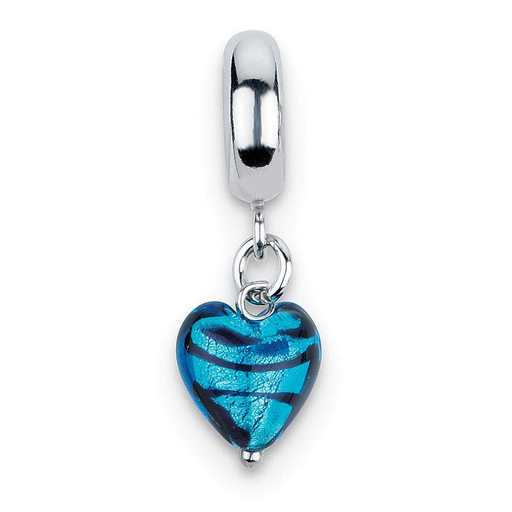 Sterling Silver Reflection Blue Heart Stripes Ital Murano Dangle Bead